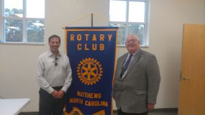 Nick Male with barry Steiger, President, Mathews Rotary Club, North Carolina